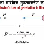Newton's Law of gravitation in Hindi